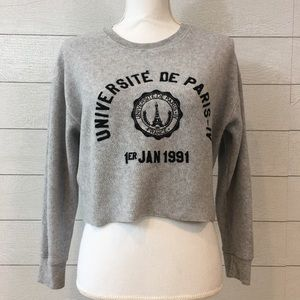 TOPSHOP Cropped Paris Sweatshirt